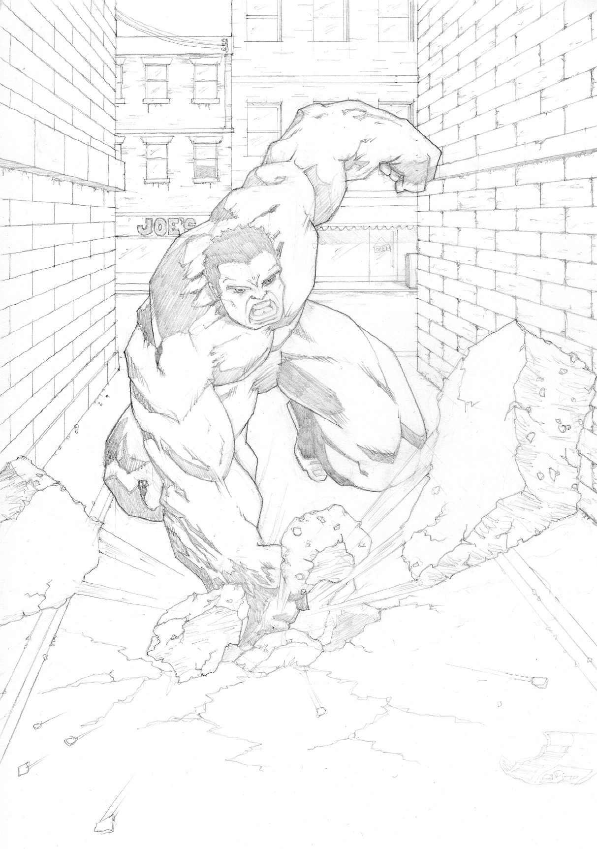Pencil sketch of The Hulk